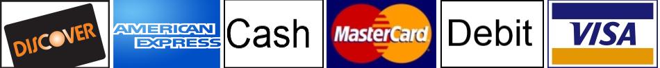 Payment Types: Discover, MC, Visa, Cash, Debit